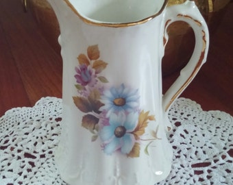 Hand-painted Pitcher/ Wedding Table Centerpiece/ Chocolate Pot/House of Webster/ Vintage-1930's/ Cottage Chic Decor/Garden Party Decor