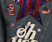 SALE** NEW** Vintage Denim levi's jean Jacket with USA themed patches and appliqués. Perfect dor july 4th!