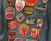 SALE** Vintage Denim levi's jean Jacket with vintage bowling patches and appliqués
