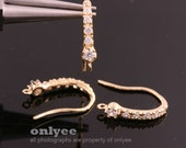 1pair/2pcs-19mmX3.5mmGold Plated over Brass 6pcs Cubics Zirconia ear wires earring, post Earring(K807G)