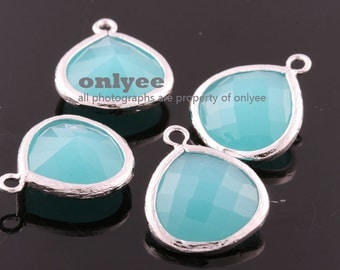 2pcs-18mmX15mmLarge Rhodium plated Brass Faceted Tear Drop With Glass pendants-Mint(M363S-E)
