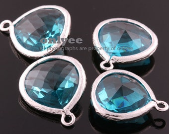 2pcs-18mmX15mmLarge Rhodium plated Brass Faceted Tear Drop With Glass pendants-BlueZircon(M363S-H)