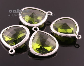 2pcs-18mmX15mmLarge Rhodium plated Brass Faceted Tear Drop With Glass pendants-DarkApple(M363S-I)
