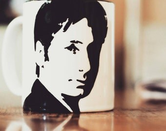 David Duchovny, Mulder, Fox mulder, californication, The X Files, hand printed, hand painted,  cup