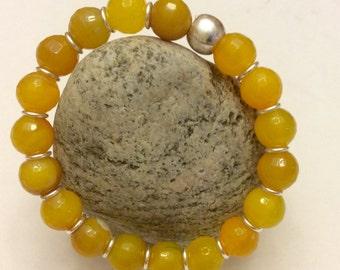 Honey Gold Agate & Sterling Silver Yoga Beaded Stackable Stretch Bracelet