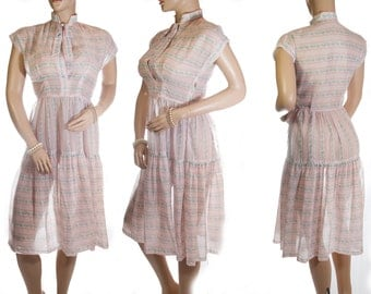 Dreamy soft really sheer rose pink stripe and blue floral design floaty nylon cap sleeve genuine 1950's vintage tiered skirt dress - DB179