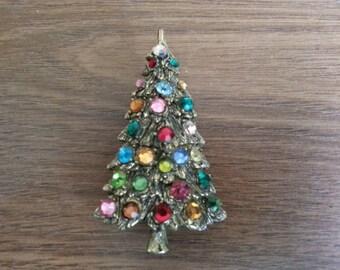 Vintage Christmas Pin, Brooch, Christmastree with Rhinestones Pin