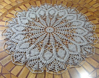 Hand Crocheted Gray Pineapple Table Topper Doily 22 inch