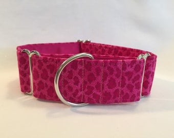 "1.5"" Pink Cheetah Martingale Collar"