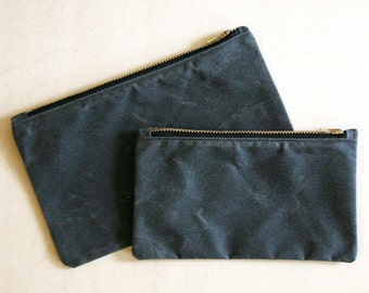 Small Gray Waxed Canvas Zipper Pouch