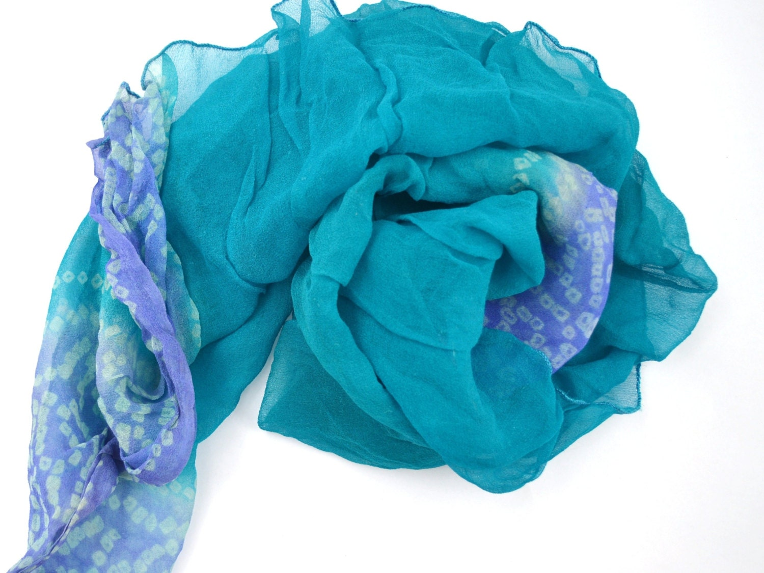 blue scarf turquoise silk scarf indian scarf silk by