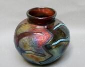 Raku Pottery Vase Starfish Pottery Home and Living Home Decor Vase Copper Turquoise Art and Collectibles Fine Art Ceramics Ceramic Raku Pots