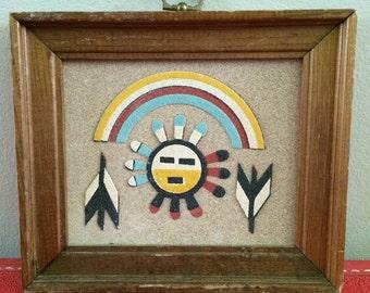 Vintage Native American sand art by Rainbow Way Ltd,