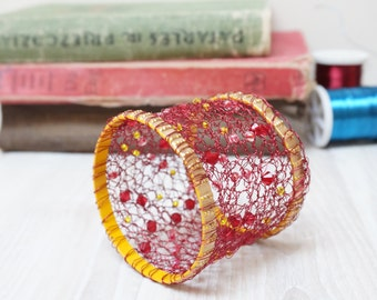 Wire crochet bracelet bangle cuff red golden handmade wrap knit yellow seed bead faceted acrylic gold tone burgundy claret