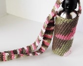 Water Bottle Holder Cross-body Strap Pink Camo Crochet Bottle Cozy