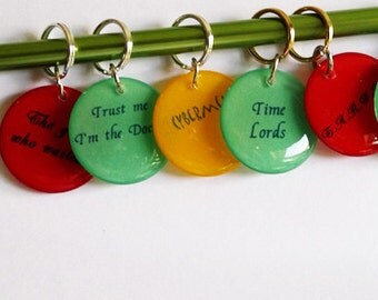 Dr. Who Inspired Stich Markers for Knitters or Crocheters You Choose Quantity & Quotes Knitting