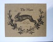 75% OFF SALE Burlap French Country Burlap Rabbit Print