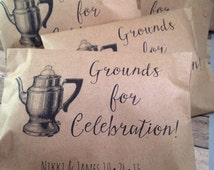 Vintage Wedding Coffee Favor Bags, Grounds for Celebration Custom Wedding Favors,  Recycled Brown Paper Personalized Printed Sack