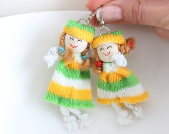 Natural Earrings, Fabric Doll Earring, Unique Rag doll earrings, Doll painted earrings, Gift for daughter