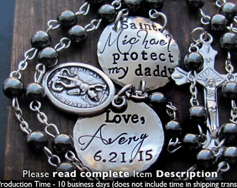 Custom. St Michael. Personalized. St Christopher. Saint Florian. Gift for Men. Husband.  Car Rosary. Army. Marines. Police. Firefighter.