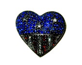 The Star-Spangled Collection:  1930s Vintage Red, White, Blue Rhinestone American Flag Heart Brooch Pin