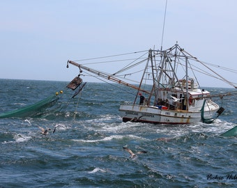 Father's Day, Hurricane Shrimper Boat, Fishing, Ocean Photography, Working Shrimper, North Carolina, Mats, FREE SHIPPING