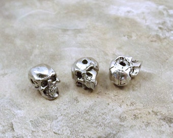 3 Pewter 5.5mm Skull Beads with a Horizontal Hole  - 5438