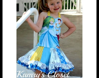 Girls Upcycle Sewing Pattern Sweetheart Halter Pieced Twirl Dress Pattern Sizes 6-12m - 12  Instant Download Little 4 Awhile Video Tutorial