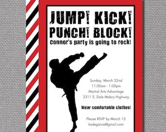 "Custom Printable 5""x7"" Martial Arts Birthday Party Invitation"