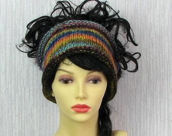 Hand Knit Mens Headband Guys knit hair wrap - Multicolor dreadlocks accessory Unisex Adults Dread band