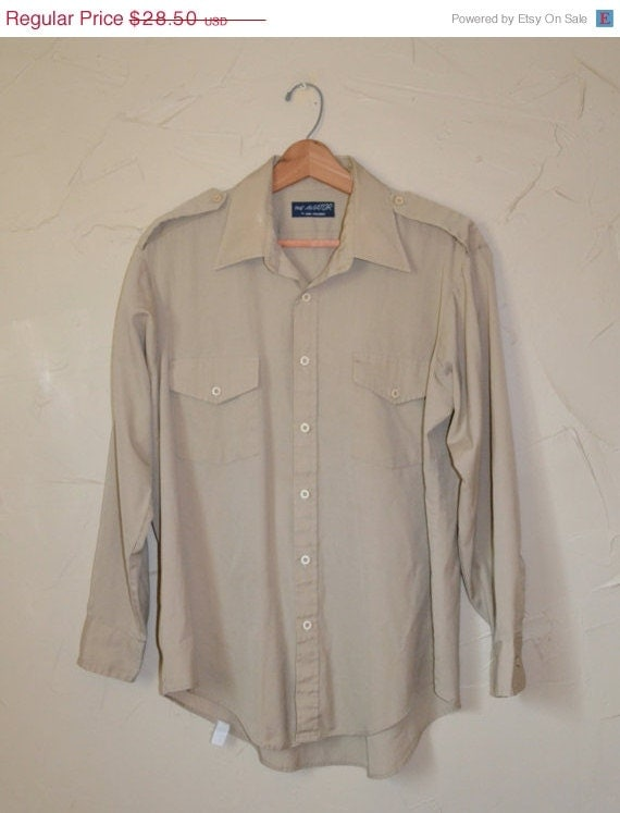 On Sale Vintage Khaki Dress Shirt Men 39 S Button By