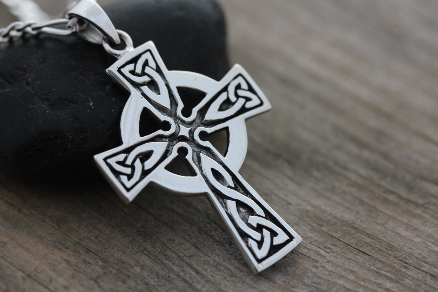 mens celtic cross necklace fathers day gift sterling silver. Black Bedroom Furniture Sets. Home Design Ideas