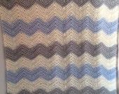 Chrevron Blue, Grey, Cream (off-white) Baby or Lap Blanket - crochet boy, girl, or adult lap afghan in soft and modern stripes of yarn