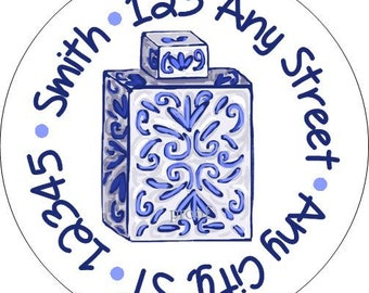 Blue and White Ginger Jar Round Address Labels, Chinoiserie Stickers for use as Gift Tags, Party Favors, Address Labels & Class Parties