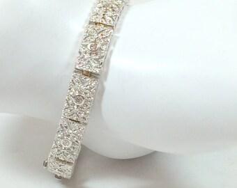 STERLING SILVER DIAMOND Bracelet -  Natural Gems - Deco Style - Estate - Artisan Design - Link Bracelet