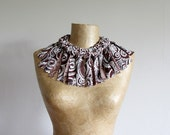 Chunky brown and cream fabric necklace with fringe, statement necklace, bib, choker, upcycled recycled repurposed, eco friendly OOAK for her