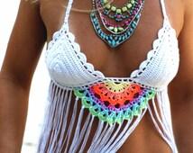 Mandala Crochet Top. White & Lollipop.