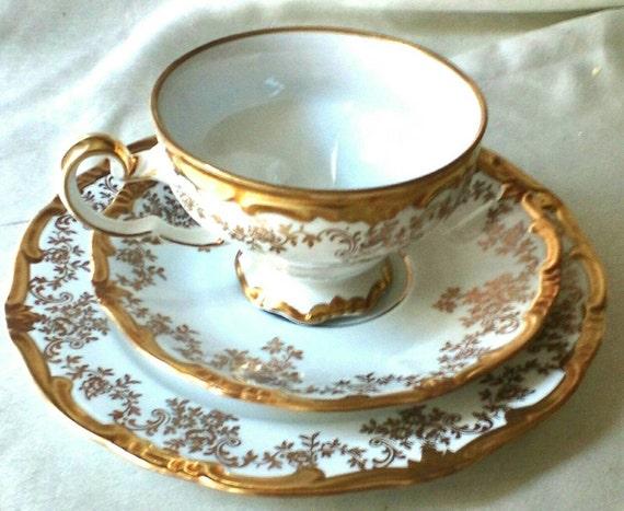 German Wedding Gifts: 1940s German Porcelain Dessert Trio Gorgeous By