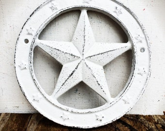 BOLD western star wall plaque // shabby chic white // Texas star // rustic cowboy country wall art // home decor