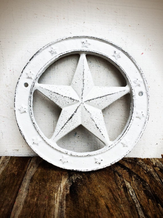 White Star Wall Decor : Bold western star wall plaque shabby chic white texas