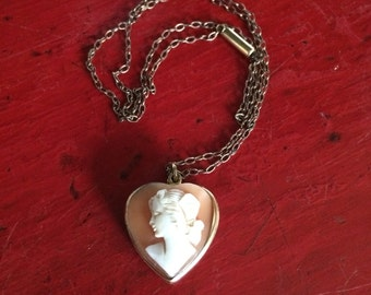 Antique Cameo Necklace Gold Fill Heart Shape Shell Cameo