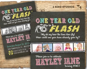 first birthday invitation - one year old in a flash - 1st birthday invitation - girl birthday party invitation - Chalkboard DIY invite