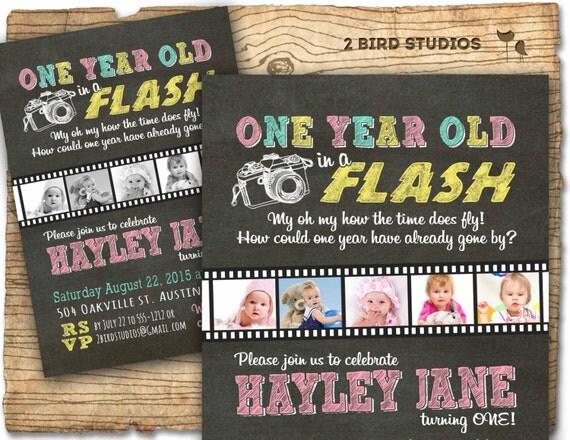 First birthday invitation one year old in a flash 1st birthday il570xn filmwisefo