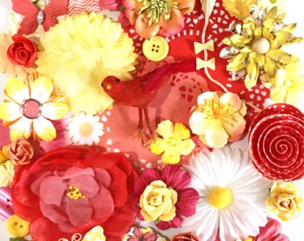 Yellow and Coral Flowers by the Bunch* Flower Inspiration Kit*Shabby Chic Flowers