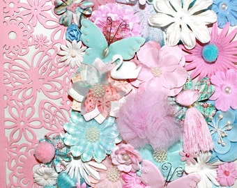 Pink and Blue Flowers by the Bunch* Flower Inspiration Kit*Shabby Chic Flowers