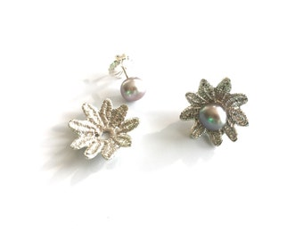 Lace Earring Jacket - Sterling Silver - Flower Earring