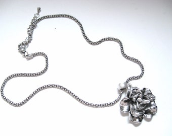 """Antique Silver ROSE FLORAL Scuptural Artisan RHINESTONE Pendant & Chunky Link 16-18"""" Choker Necklace Retro Runway Fashion Statement Jewelry"""