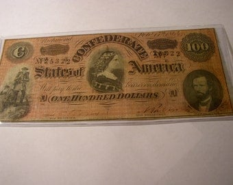AUTHENTIC 100.00 Dollar CONFEDERATE Note-- Dated Feb. 17th 1864