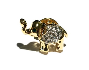 Gold Rhinestone Elephant Brooch, Rhinestone Brooch, Animal Brooch, Tie Tack