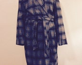 Wool Plaid Men's Soft 100% Wool Robe or Lounger Made in the USA Union Label Size Medium